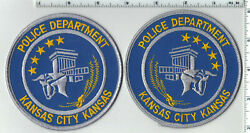 Kansas City Police Kansas Mirrored Set Shoulder Patches Left-right From 1992