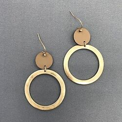 Brown Faux Leather Circle Matte Gold Finished Circle Drop Dangle Hook Earrings