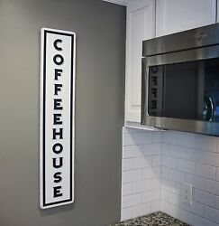 Vintage Kitchen Coffee Sign Vertical Coffeehouse Wood Sign Primitive Wall Decor