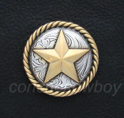 Western Horse Tack Antique Gold Round Rope Edge Star Concho 1-1/2 Screw Back