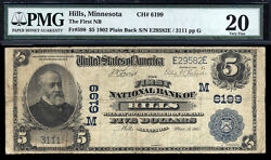 5 1902 The First National Bank Of Hills, Minnesota Ch 6199 Rare Only 4 Lg No Sm