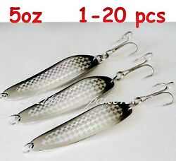 1- 20 Pcs 5oz Crocodile Casting Spoons Silver Holographic Fishing Lures