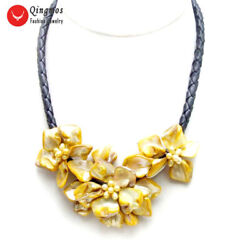 Orang Baroque Shell Flower Pendant Necklace For Women Pearl Chokers 18and039and039 Rope