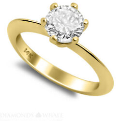 Solitaire 1.2 Ct Enhanced Diamond Ring Yellow Gold 14k Si2/f Round Cut Bridal