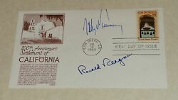Ronald Reagan Autograph And Uss Of Ca - 1969 1st Day Issue Stamp Envelope