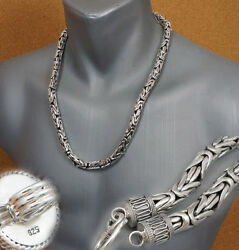8mm Huge Bali Byzantine 925 Sterling Silver Mens Necklace King Chain 22 28 30