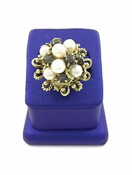 Art Deco 14k Yellow Gold Culture Pearl Round Shape Ring