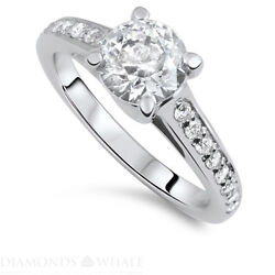 Engagement Round Diamond Ring Vs1/d 1.36 Ct White Gold Accents Round Enhanced