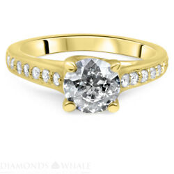Wedding Round Enhanced Diamond Ring Solitaire Accents Si2/d 1.28 Tcw Yellow Gold