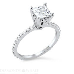 0.87 Tcw Solitaire With Accent Princess Diamond Ring Vs2/d Engagement Enhanced