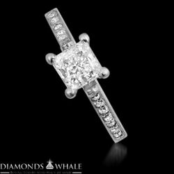 1.22 Tcw Solitaire With Accent Princess Diamond Ring Vs1/d Engagement Enhanced