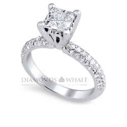 1.53 Tcw Princess Enhanced Diamond Ring Solitaire With Accents Vs2/d Engagement