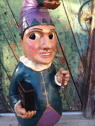 Mr Punch John Gallagher Carved Wooden Cigar Store Indian 4 Ft Tall Statue Clown