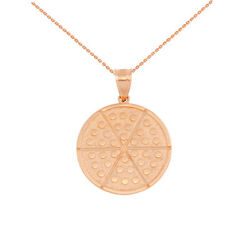 10k Solid Rose Gold Six Slice Whole Pepperoni Pizza Lover Pendant Necklace