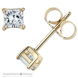 Stud Enhanced Princess Diamond Earrings 1.7 Ct Vs2/d 14k Yellow Gold Engagement