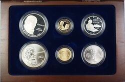 1993 Bill Of Rights Commem 5 1 50c Proof And Unc Gold Silver Clad 6 Coin Set