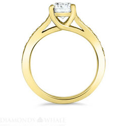 Solitaire With Accent 1.29 Tcw Diamond Enhanced Ring Yellow Gold Vs1/d Round