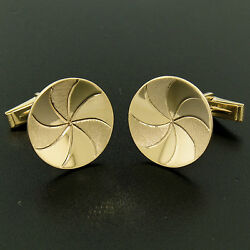 Menand039s 14k Yellow Gold Dual Finish 20mm Round Concave Swirl Design Cuff Links