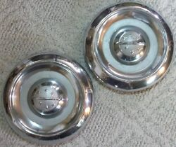 1955 Thru 1956 Oldsmobile Lot Of 2 Dog Dish Hubcaps 10 Inch 7 5/8 To Inner Bead