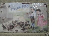 Williams Poultry Food Feed Farm Chickens Eggs Tin Metal Sign NEW Makes Hens Lay