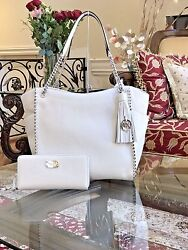 NWTMICHAEL KORS WHIPPED CHELSEA PEBBLED LEATHER LARGE CHAIN HANDBAG+WALLET$800