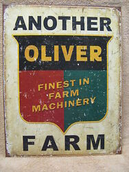 Another Oliver Farm Tin Metal Sign Decor Machinery Equipment Barn Farm New