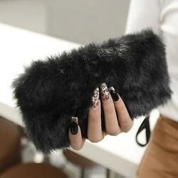 LADIES DESIGNER PLAIN FAUX FUR FLUFFY CLUTCH BAG  Purse Wallet HANDBAG L