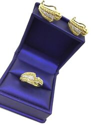 Antique Art Deco 18k Solid Yellow Gold Diamond Ring And Earring Set