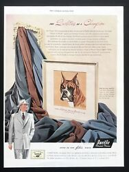 1949 Vintage Print Ad PACIFIC FABRICS Boxer Dog Painting Illustration Color
