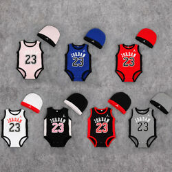 BABY JORDAN 23 ROMPER +HAT NEWBORN BOY GIRL BABYGROW OUTFITS CLOTHES $10.99