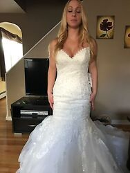 / Marianne 3ms763 Wedding Dress Ivory Size 8 Lace Gown