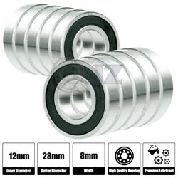 10x [6001-2rs] Ball Bearing 12mm X 28mm X 8mm Rubber Seal Premium Rs Shielded