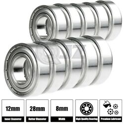 10x S6001-zz Ball Bearing 12mm X 28mm X 8mm Double Shield Seal [ Stainless Steel