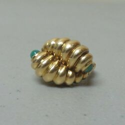 Unusual And Co. 18 K Heavy Ring Emerald Cabochon Stones 15 Grams