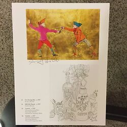 Andy Warhol Signed Print Two Fencing Men - Stull-life 1986 - Coa