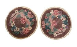 Pair Of Chinese Round Wool Rugs Circa 1930. Floral Designs