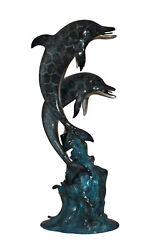 Two Dolphins Fountain Bronze Statue - Size 22l X 12w X 46h.