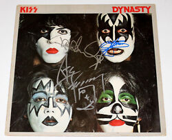 KISS BAND SIGNED AUTHENTIC 'DYNASTY' VINYL RECORD ALBUM LP wCOA GENE SIMMONS x3