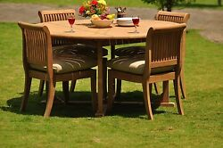 Giva Grade-a Teak 5 Pc Dining 60 Round Table 4 Armless Chair Set Outdoorpatio