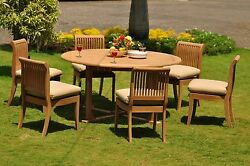 Giva Grade-a Teak 7 Pc Dining 60 Round Table 6 Armless Chair Set Outdoor New