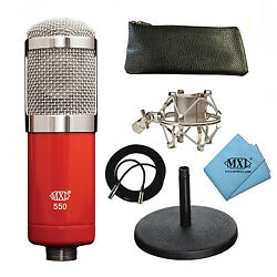 NEW MXL 550 Condenser Microphone Desk Stand Shock mount Cable Pouch Cloth