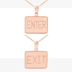 Solid 14k Rose Gold Enter Exit Street Sign Double Sided Pendant Necklace