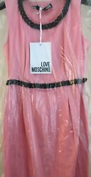 Love Moschino Embellished Pink Dress With Black Chain 42 Small Above Knee