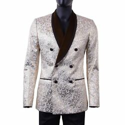 Dolce And Gabbana Double-breasted Jacquard Tuxedo Blazer Jacket Gold Silver 05469