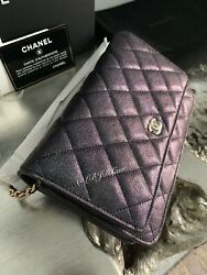 NWT CHANEL 2018 Black Caviar Golden Class WOC Wallet On Chain GOLD Crossbody