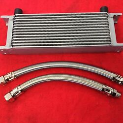 Classic Mini 13 Row Oil Cooler And Pair Of Braided Stainless Steel Hoses Kit