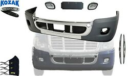 Freightliner Cascadia 08-17 Complete Bumper Chrome With Hole + Foglights + Logo