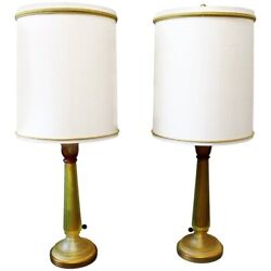 Mid Century Modern Seguso For Marbro Pair Of Amber Glass Lamps Original Shades
