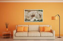 Oil Painting Original Impressionism White Poppies Still Life 18x24in