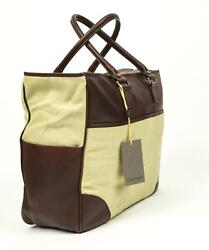 Canali $1150 Brown Goatskin Leather Beige Canvas Zip Up Doctor's Bag Carry-On